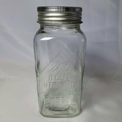Blue Ribbon Coffee Glass Jar 4737 Original Lid 1930s Collectible Vintage 1933 Ebay Jar Coffee Jars Glass Jars