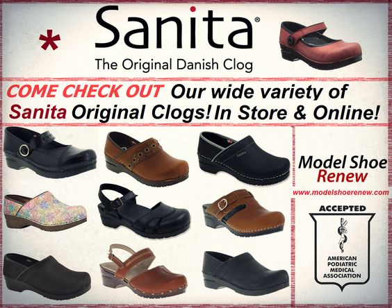 Come check out our Original Danish Sanita Clogs! We have a wide variety! Perfect for the season! www.modelshoerenew.com