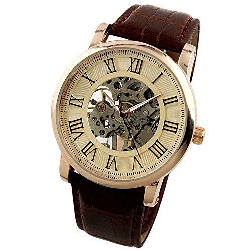 ESS Rose Golden Skeleton Hand-winding Mechancial Brown Leather Wrist Watch Classic Mens Man WM273-ESS