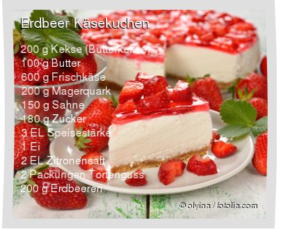 200 g Kekse (Butterkekse) 100 g Butter 600 g Frischkäse 200 g Magerquark 150 g Sahne 180 g Zucker 3 EL Speisestärke 1 Ei 2 EL Zitronensaft 2 Packungen Tortenguss 200 g Erdbeeren