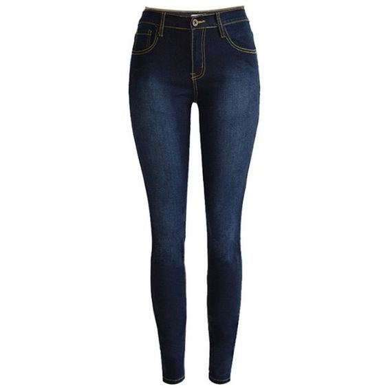 Dark Blue High Waist Washed Skinny Jeans ($50) ❤ liked on
