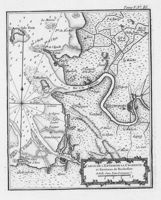 Carte de l'entrée de la Charente et environs de Rochefort.    Auteur : Bellin, Jacques-Nicolas (1703-1772) Date : 1764  Taille : 920x1138 (0.3 MO)  Origine : BNF