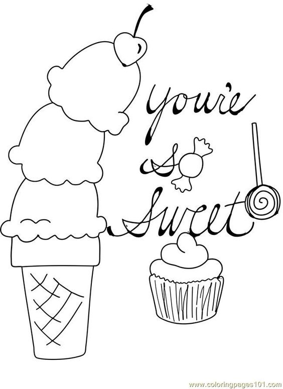 free printable coloring image Candy Cupcake Ice Cream Cone Cherry Valentine