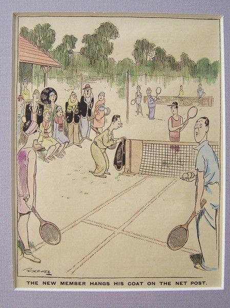 Karikatur+°Tennis+Sport°++Original+um+1935+von+Sammel-Leidenschaft+auf+DaWanda.com