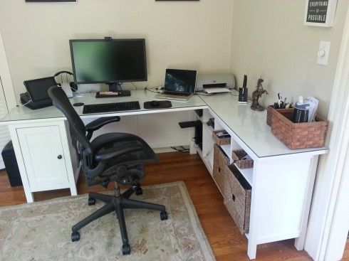Hemnes desk minus one pedestal plus hemnes sofa table plus glass top home office - Glass office desk ikea ...