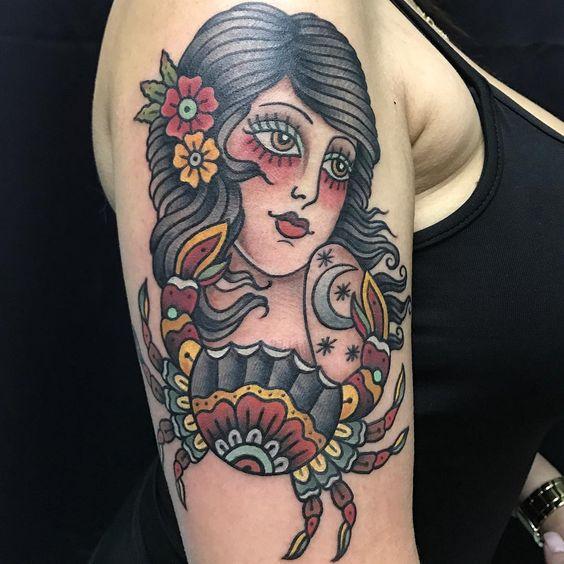 Toda Betty! #cancersigntattoo #cancertattoo #traditionaltattoo #ladytattoo #ladytattooers #tattoos #telaviv