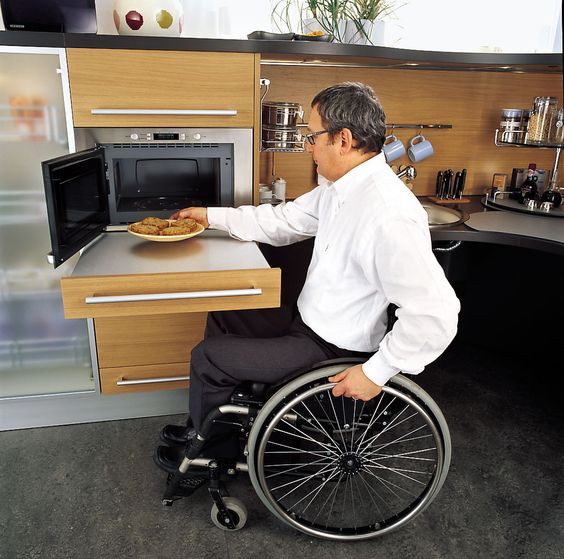 Ergonomic Italian Kitchen Design Suitable For Wheelchair Users; YOU CAN DO  THIS WITH A STANDARD DRAWER UNDER A MICROWAVE OR OVEN. EITHER ADD A REMu2026