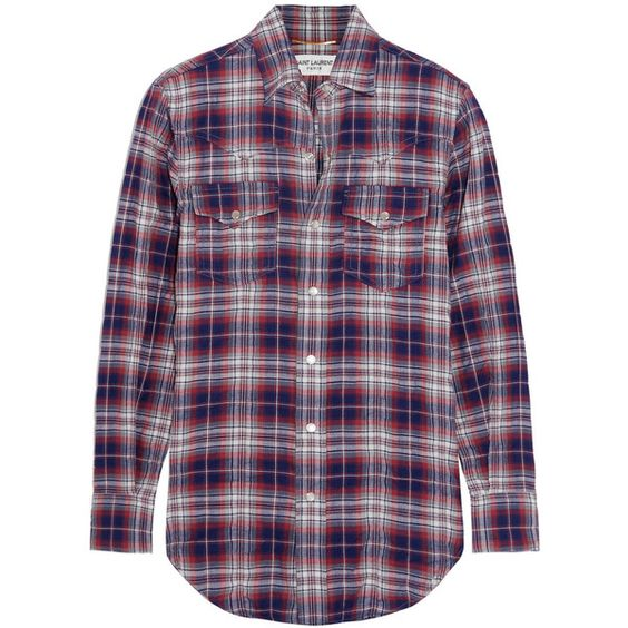 Saint Laurent Plaid cotton-blend shirt (2.765 RON) ❤ liked on Polyvore featuring tops, shirts, plaid top, purple plaid shirt, checkered shirt, blue checked shirt and blue top