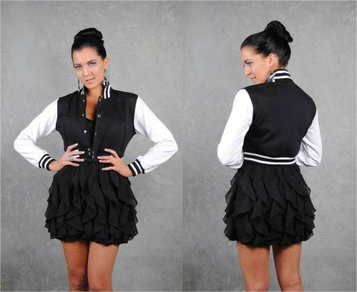 Black/White Crop Ladies Baseball Jacket worn with models own black