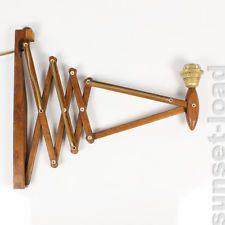 alte Scheren Leuchte Teak Holz Scissor Lampe Wandmontage 50er 60er Jahre vintage