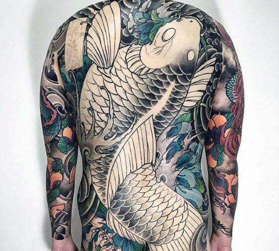 Japanese Koi Fish Splashing In Water Mens Back Tattoo Japanese Back Tattoo Tattoo Designs Men Mens Body Tattoos