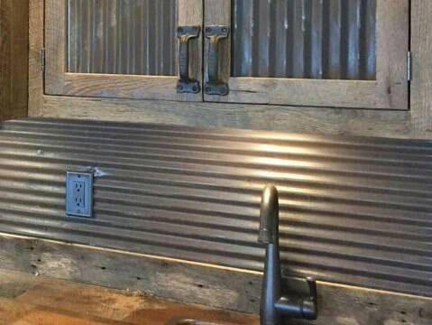 Reclaimed Corrugated Antique Barn Tin Galvanized Tin Vintage Building Supplies Wainscoting Backsplas Metal Backsplash Kitchen Barn Tin Metallic Backsplash