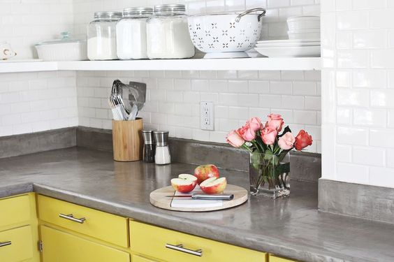 DIY concrete countertop for less than $100-- if I buy a house with a Formica counter one day, I'm doing this!