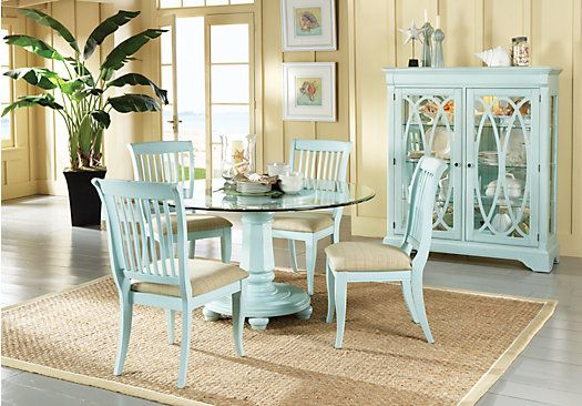 Shop For A Cindy Crawford Home Seaside Green 5 Pc Glass Top Dining Room At Rooms To Go Find Sets That Will Look Great In Your