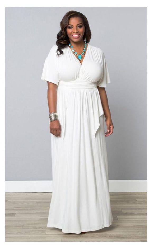 Kiyonna Indie Flair Maxi Dress in White Jasmine - Curvy Fashion ...
