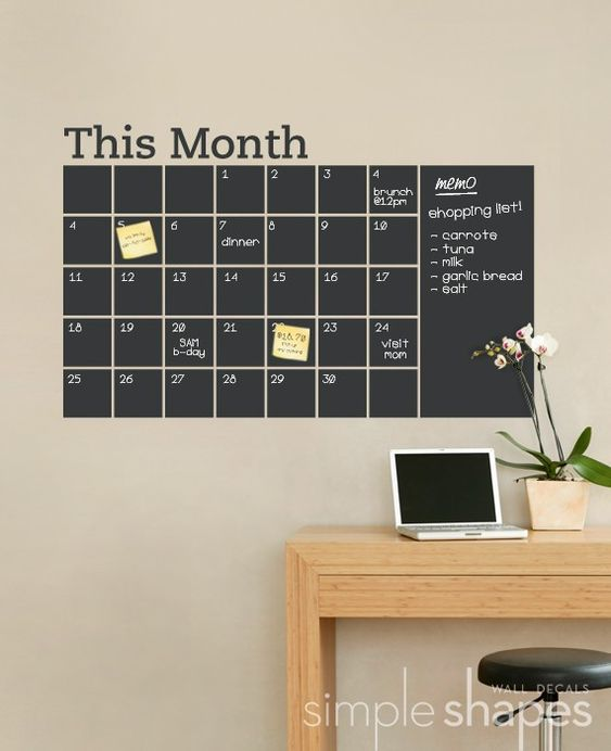 Chalkboard Wall Calendar with Memo - Vinyl Wall Decal USD 64: