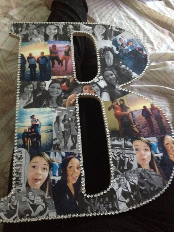 I'm gonna make one of these for my friends. Probably just need a wood cutout letter from the local craft store and some pictures. Maybe some glue and pictures too!