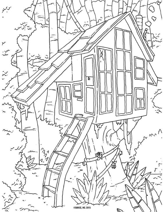Secret Tree House Adult Coloring Pages