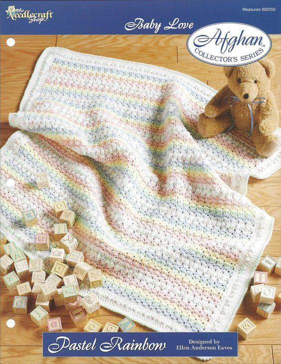Crochet bebé patrón arco iris Pastel manta afgana - serie ...