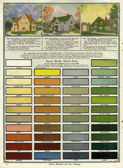 Seroco Exterior Colors Schemes Paint 1918 Seroco Historic Color Palette From The Early