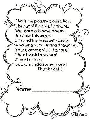math worksheet : note for parents to return poetry journal back to school also  : Kindergarten Back To School Poems For Parents