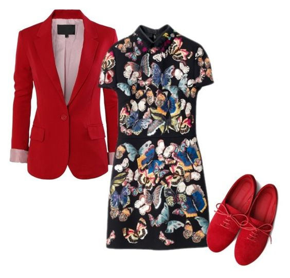 """""""Untitled #2649"""" by roseunspindle ❤ liked on Polyvore featuring Ollio, red, Oxfords and chinese"""