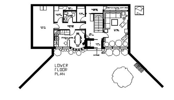 Earth Sheltered Two Floor House Plan