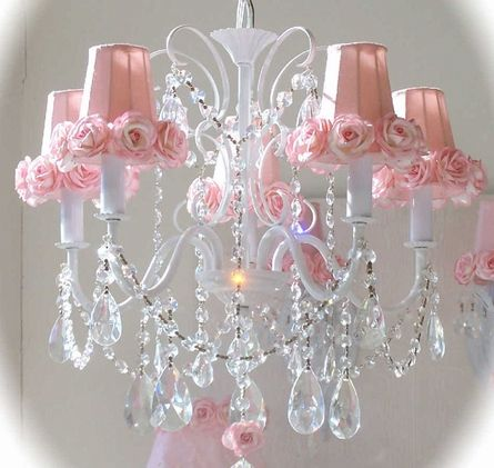 Pink Chandelier Shade with Roses... pretty! ♥