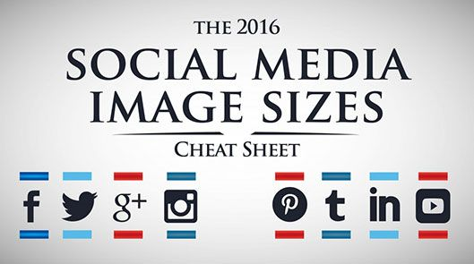 2016 social media image sizes and dimension guide for Facebook cover photos to Twitter post images, YouTube channel cover photos and Pinterest pin sizes.