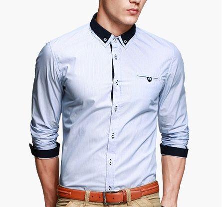 เสื้อผ้าผู้ชาย เสื้อเชิ้ตผ้าคอตตอนลายแถบฟ้าขาวเนื้อดี แต่งปกสองชั้นเย็บสาบด้วยสีดำ http://www.sunday17.com/product/1413