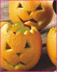 Jack-o-lantern fruit cups- made these last year,  make again this year.: