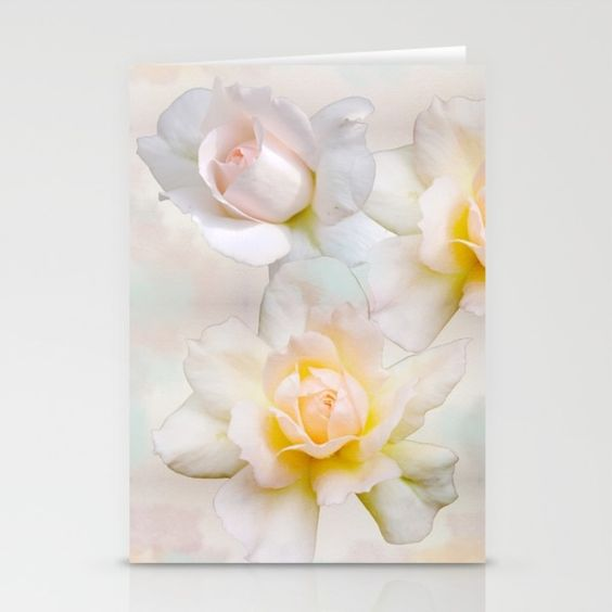 Romantic pastel roses on a paper textured background Stationery Card