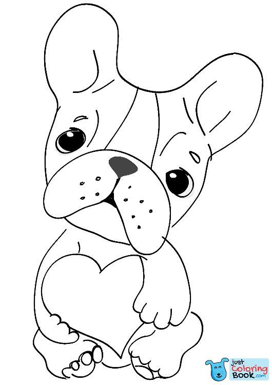 Cute Dog With Heart Coloring Page With Images Heart Coloring