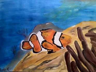 Obra: payasos en el mar. Tecnica: pinturas acrilicas profesionales. Autor: Jhostin Gomez.