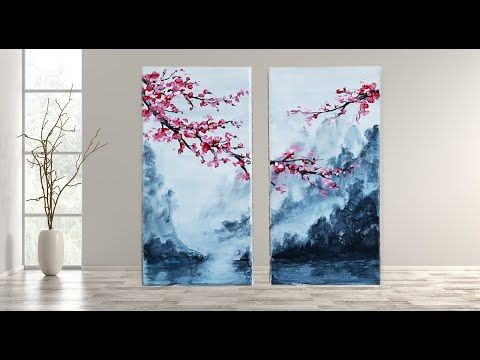 Cherry Blossom Step By Step Acrylic Painting For Beginners Mariarthome Youtub Cherry Blossom Painting Cherry Blossom Painting Acrylic Flower Painting Canvas