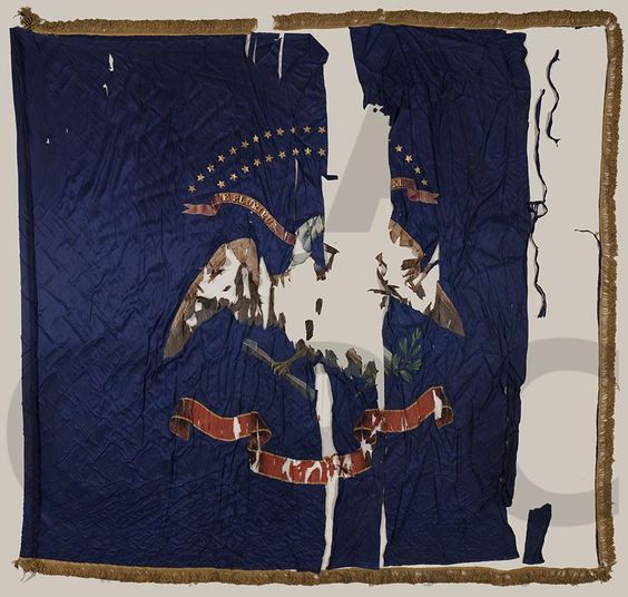 """114th Pennsylvania Infantry """"Collis' Zouaves"""", Regimental Colors.  Badly mauled at Chancellorsville, taking 181 (20K-123W-38M) casualties.  Killed and Died of Wounds: 73."""