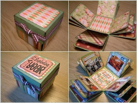 Exploding box photo album might actually try this as an anniversary gift diy pinterest - Diy projects with a cardboard box boundless creativity ...