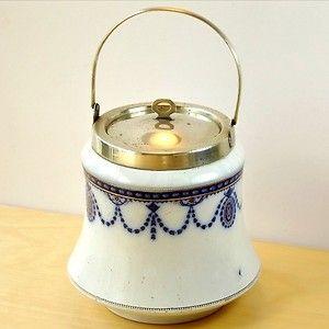 c1900 Art Nouveau WM ADAMS & SONS SILVERPLATE & FLOW BLUE BISCUIT JAR~Medallion   eBay