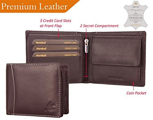 Genuine Leather Men Zip Around Hipster Bifold Tall Wallet 10 ID Card Holder