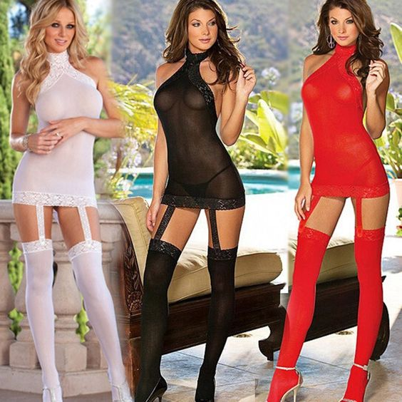 Sexy Lingerie Hot 4 Colors Gauze Halter Erotic Babydoll+Stockings Costume ITC524
