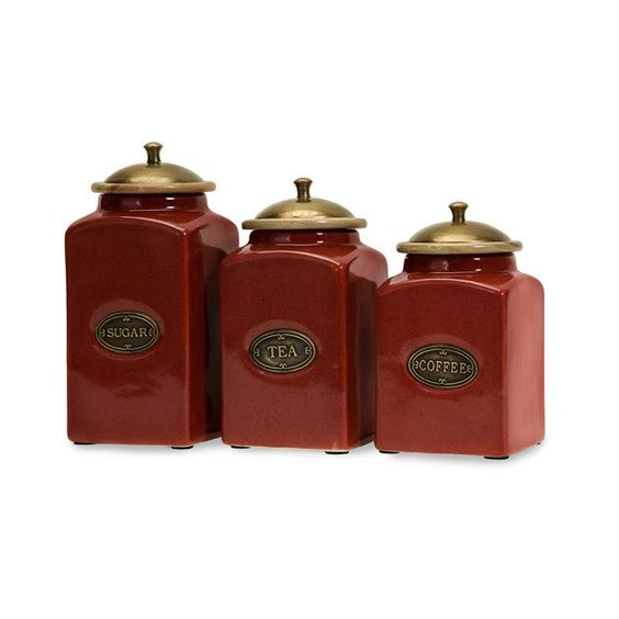 FRENCH COUNTRY S/3 CANISTER SET Ceramic Kitchen Tuscan Red NEW