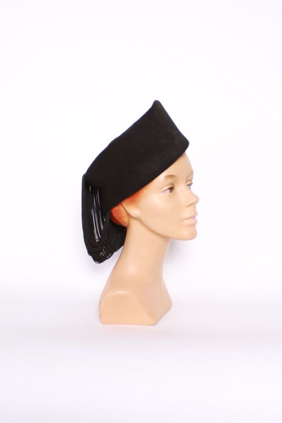 Vintage 40s Tilt HAT / 1940s Tall Black Wool Hat with Draped FRINGE by LuckyDryGoods on Etsy https://www.etsy.com/listing/259210752/vintage-40s-tilt-hat-1940s-tall-black