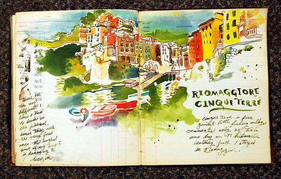 art journal watercolor over ledger paper - riomaggiore, cinqueterre, italy: Journal Inspiration, Art Journals, Art Sketchbooks, Art Sketching, Journals Sketchbooks, Watercolors Painting, Art Journaling