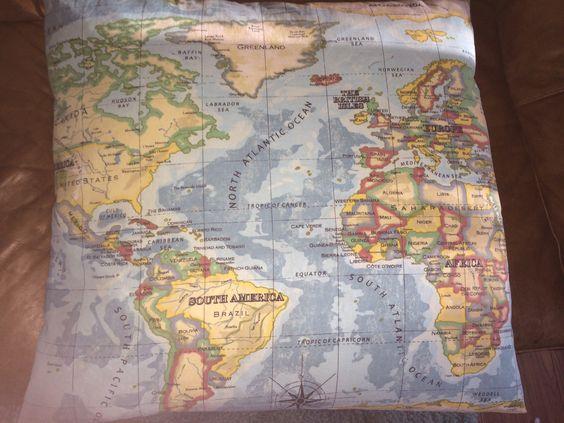 World map cushion