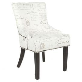 """Birch-framed side chair with curved back legs and nailhead-trimmed upholstery.     Product: Set of 2 chairsConstruction Material: Birch wood and fabricColor: White and greyFeatures: Nailhead detailingDimensions: 34.6"""" H x 21.7"""" W x 25.2"""" D  each"""