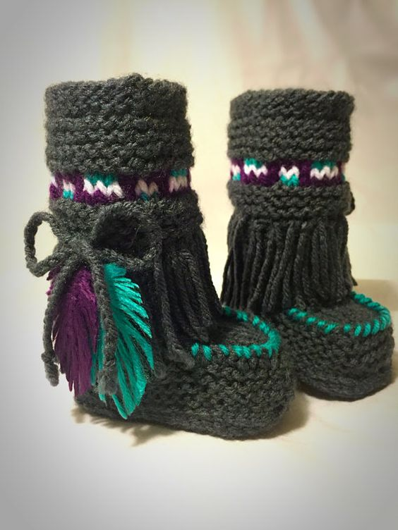 Hand Knit Baby Moccasin Booties- Gray and Teal