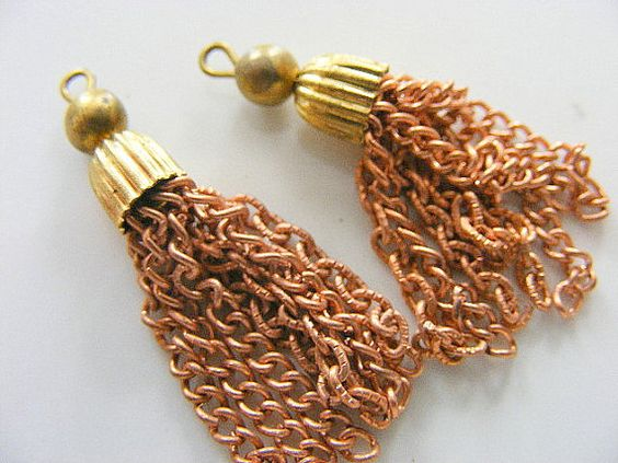Vintage Copper and Brass Tassels 2 by BluePeacockBeads on Etsy, $2.09