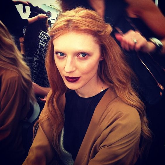 Red wine lips: the hot kind rather than the one-too-many kind for the beauty look at Gucci.