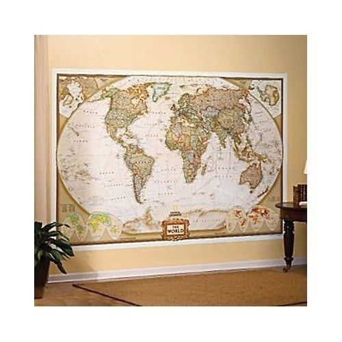 oversized world map giant extra large political globe wall poster art earth tone world wall. Black Bedroom Furniture Sets. Home Design Ideas