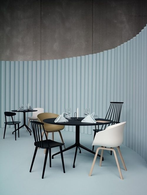 Something about mis- matched chairs at the dining table and in itself is really eye - catching.
